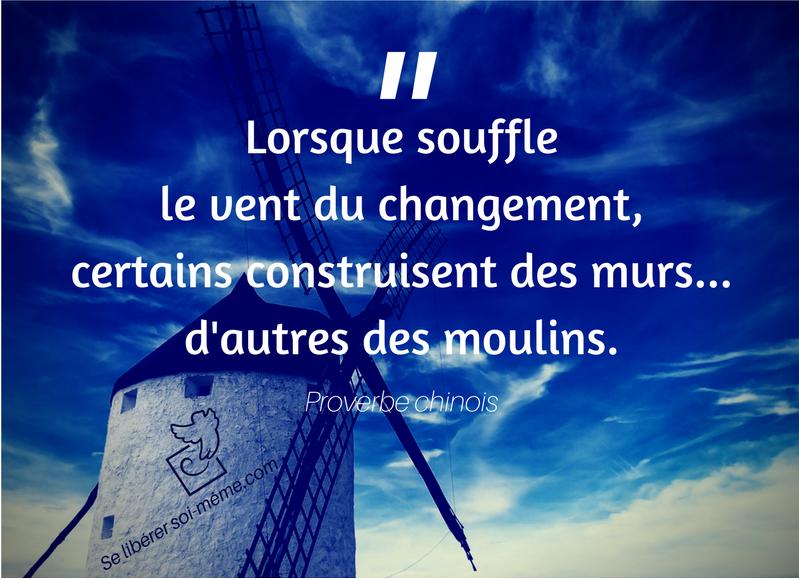 le changement (citation inspirante) : Lorsque souffle le vent du changement, certains construisent des murs, d'autres des moulins